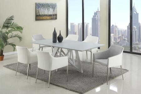 Chintaly KATIE5PC KATIE DINING 5 Piece Set - Wood Painted Grey Glass Dining Table Top and 4 Accent Side Chairs