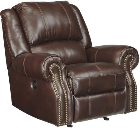"Signature Design by Ashley U72100RR Collinsville 43"" Rocker Recliner with Jumbo Stitching, Nail Head Accents, Metal Construction and Leather Upholstery in Chestnut Color"