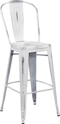 "Flash Furniture ET-3534-30 30"" High Metal Indoor-Outdoor Barstool with Curved Back, Cross Brace Under the Seat and Protective Rubber Floor Glides in"