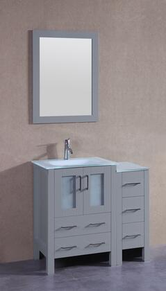 """Bosconi AGR124EWGUX XX"""" Single Vanity with Clear Tempered Glass Top, Integrated Sink, F-S01 Faucet, Mirror, 2 Doors and X Drawers in Grey"""