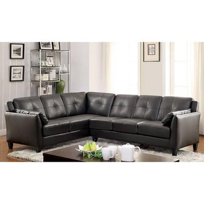"Furniture of America Peever I Collection CM6268XX-SET 104"" 2-Piece Sectional with Button Tufted Cushions, Tapered Legs and Leatherette Upholstery in"