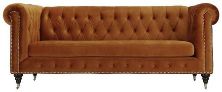 """EdgeMod Liza Collection 89.57"""" Sofa with Removable Seat Cushions, Silver Nailheads, Solid Metal Casters, Turned Birch Legs and Fabric Upholstery in"""