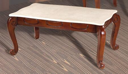 """Meridian 232C 45"""" Rectangular Coffee Table with Marble Top, Carved Details and Cabriole Legs in Cherry Finish"""