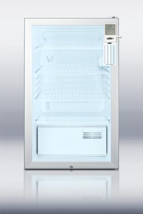 "Summit SCR450LBIMEDDX 20"" Medically Approved Compact Refrigerator with 4.1 cu. ft. Capacity, Glass Door, Temperature Alarm and Door Lock, in White"