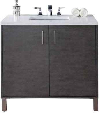 "James Martin Metropolitan Collection 850-V36-SOK- 36"" Silver Oak Single Vanity with Two Soft Close Doors, Chrome Hardware and"