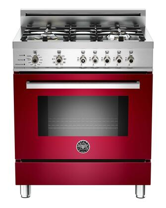 "Bertazzoni PRO304DFSVILP 30"" Professional Series Dual Fuel Freestanding Range with Sealed Burner Cooktop, 3.4 cu. ft. Primary Oven Capacity, in Burgundy"
