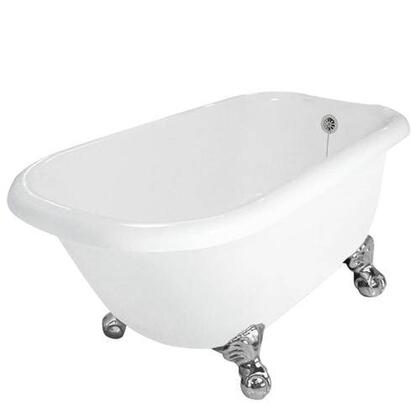 American Bath Factory T040A- Jester Bathtub no Faucet Holes, Includes Drain, Pre-Drilled Overflow and Drain Holes:
