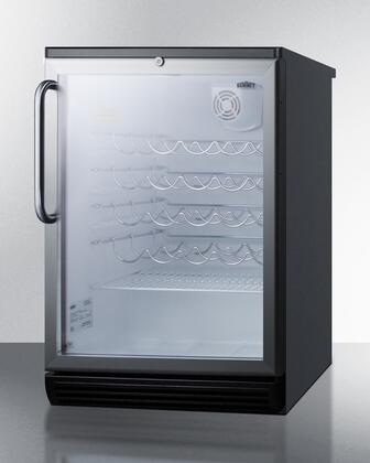 "Summit SWC6GBLTB 23.67"" Black Freestanding Wine Cooler"