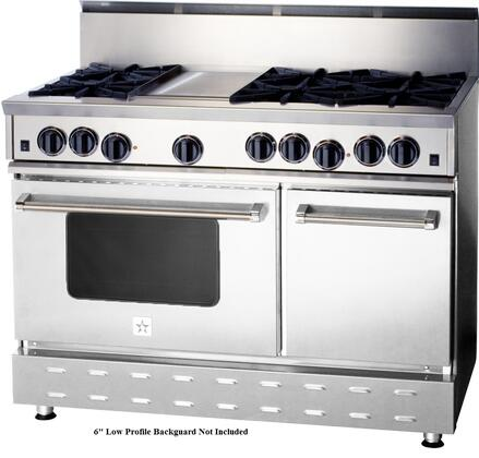 "BlueStar RNB Series RNB486GV1 48"" Freestanding Gas Range with 6 Cast Iron Open Burners, 4.5 Cu. Ft. Convection Oven, 12"" Griddle, Simmer Burner, Full Motion Grates and Stainless Steel Drip Trays"