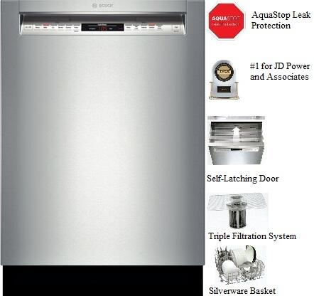 "Bosch SHE68T55UC 24"" 800 Series Built In Full Console Dishwasher with 3rd Rack, 15 Place Settings Place Settingin Stainless Steel"