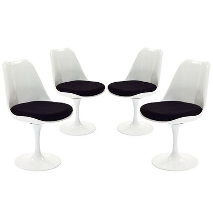 Modway EEI-1342 Lippa Dining Side Chair Set of 4 with Modern Design, ABS White Plastic Seat, Aluminum Base and Fabric Cushion