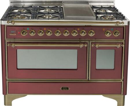 Ilve UM120FMPRBY Majestic Series Dual Fuel Freestanding Range with Sealed Burner Cooktop, 2.8 cu. ft. Primary Oven Capacity, Warming in Burgundy