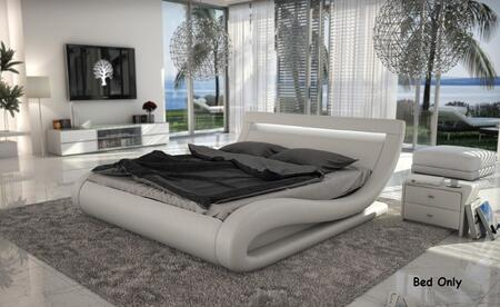 VIG Furniture VGINCORSICA Modrest Corsica - Contemporary White Leatherette Bed with Headboard lights