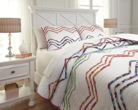 Signature Design by Ashley Lacentera Q76900 PC Size Quilt Set includes 1 Quilt and Standard Sham, Machine Washable with Zig Zag Design Cotton Material in Multi Color
