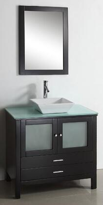 "Virtu USA Brentford 36"" MS-4436-x-ES Single Sink Bathroom Vanity in Espresso Finish with x Countertop, Matching Framed Mirror, 2 Doors, 2 Doweled Drawers and Brushed Nickel Hardware"