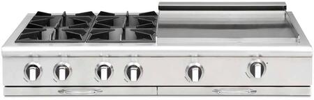 "Capital Culinarian Series CGRT484GG-X 48"" Restaurant Style X Range Top with 4 Burners, a 24"" Thermo-Griddle with Cover, EZ-Glides Drip Trays, and Auto-Ignition/Re-Ignition, in Stainless Steel"