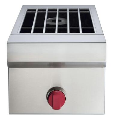 """Wolf SBXX 13"""" Side Burner with Stainless Steel Burner Grates, Stainless Steel Cover, and Wolf Red Knobs, in Stainless Steel"""
