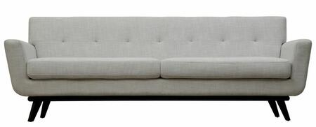 TOV Furniture James TOVS20S Linen Sofa with Button Tufted Back, Piped Stitching and Solid Birch Wood Frame and Legs in
