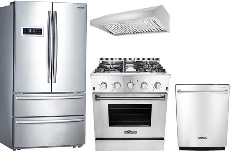 Thor Kitchen 802405 4 Piece Stainless Steel Kitchen Appliances Package
