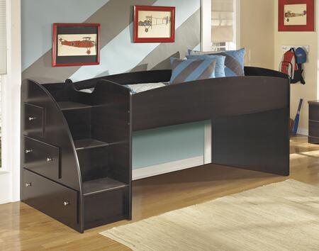 Signature Design by Ashley Embrace B239-13X-68T Twin Loft Bed with X Storage with Steps, Loft Bed Top and Nickel Color Knobs in Merlot