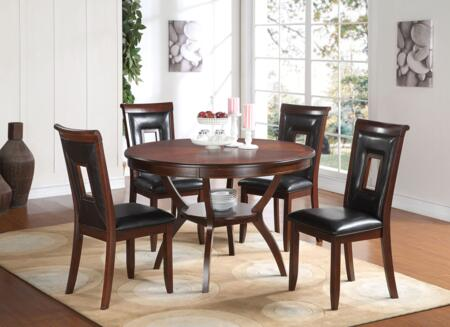 Acme Furniture Oswell Collection 5 PC Dining Room Set with PU Chair Upholstery, Tapered Legs, Cut-Out Chair Back and Solid Pine Wood Construction in Cherry Finish