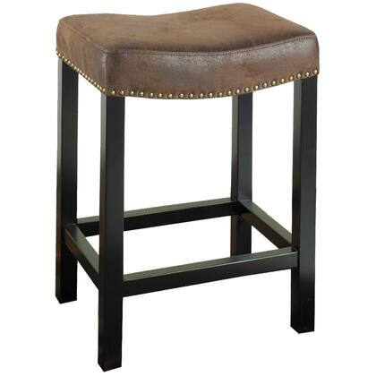 Armen Living LCMBS013BAWRX Tudor Backless Stationary Bar stool Covered in a Wrangler Brown Fabric with Nail Head Accents