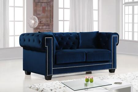"""Meridian Bowery Collection 614X-L 69"""" Loveseat with Velvet Upholstery, Chrome Nail Heads, Button Tufting and Contemporary Style in"""