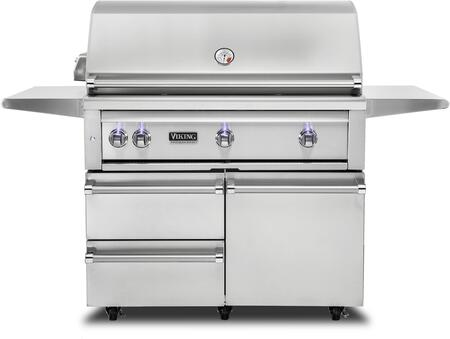 "Viking VQGFS5420LSS 42"" Freestanding Liquid Propane Grill and Cart with ProSear Burners and a Rotisserie in Stainless Steel."