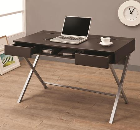 Coaster 80011 Desks Connect-It Desk with Built-in Outlet, 2 Drawers, 1 Storage Compartment and Silver Metal Legs in Finish