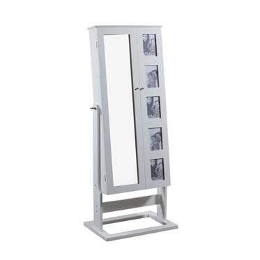 """Powell Cheval Collection 144-072 24"""" Photo Jewelry Armoire with Mirror Front, 5 Slots for Photos and 4 Shelves in"""