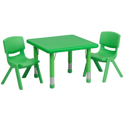 """Flash Furniture YU-YCX-0023-2-SQR-TBL-XX-R-GG 24"""" Square Adjustable Plastic Activity Table Set with 2 School Stack Chairs"""