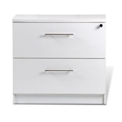 "Unique Furniture 100 Collection 32"" Lateral File Cabinet with 2 Anti Tilt Drawers, Central Locking System, High Pressure Melamine, Medium-Density Fiberboard (MDF) Materials and Open Grain Finish in"