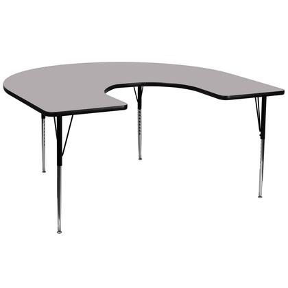 """Flash Furniture XU-A6066-HRSE-G-T-X-GG 60""""W x 66""""L Horseshoe Activity Table with Thermal Fused Laminate Top and Standard Height Adjustable Legs"""