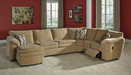 Milo Italia Brenton MI-5204ATMP 4-Piece Sectional Sofa with X Arm Corner Chaise, Armless Loveseat, Wedge and X Arm Loveseat in Dune