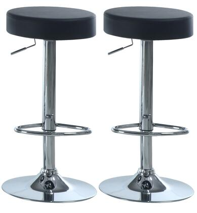 Monarch I 236XX Set of Two Adjustable Bar Stools, with Hydraulic Lift System, Backless Seat, and Chrome Finished Metal Frame