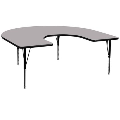 """Flash Furniture XU-A6066-HRSE-YX-T-P-GG 60""""W x 66""""L Horseshoe Activity Table with Thermal Fused Laminate Top and Height Adjustable Pre-School Legs"""