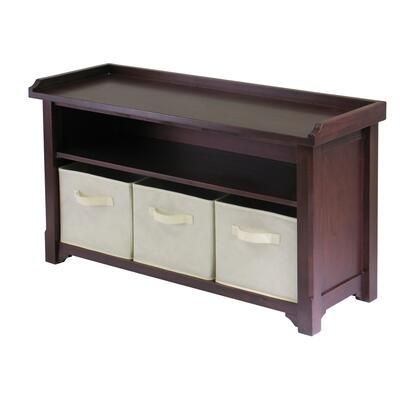Winsome 94X01 Verona Storage Bench in Walnut Finish with 3 Foldable Fabric Baskets