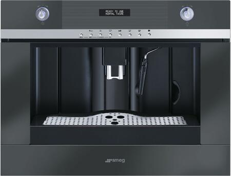 """Smeg CMSC4 24"""" LINEA Series Coffee Machine with Steam Function, Coffee Beans Container, 2 Lights, Backlit Knobs, and Stopsol Supersilver Glass:"""