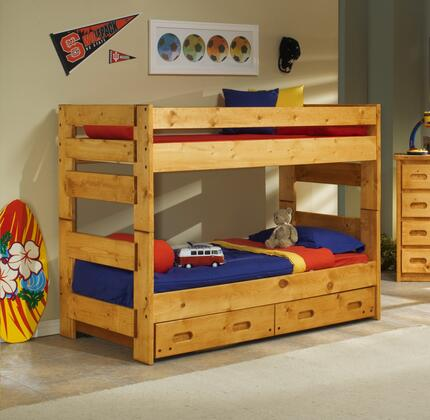 Chelsea Home Furniture 3544710-4711-X Twin Over Twin Bunk Bed with Rustic Style, and All Pine Wood Construction in Cinnamon