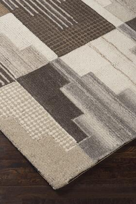 """Signature Design by Ashley Watnick R40167 """" x """" Size Rug with Abstract Design, Hand-Tufted, 4-5mm Pile Height, Wool Material and Backed with Cotton Latex in Brown and Grey Color"""