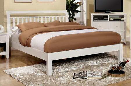 Furniture of America CM7923WHCKBED Corry Series  California King Size Sleigh Bed