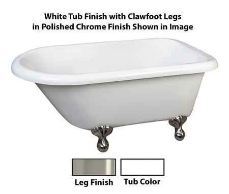 "Barclay ATR61 Archer, 61"" Acrylic Roll Top Clawfoot Tub, with White Tub Finish, Overflow, ,with Clawfoot Finish in"