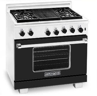 American Range ARR364GDBK Heritage Classic Series Natural Gas Freestanding Range with Sealed Burner Cooktop, 5.6 cu. ft. Primary Oven Capacity, in Black