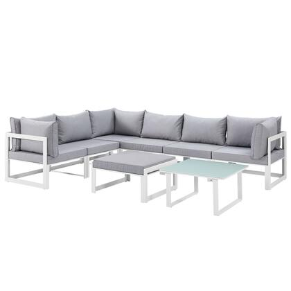 Modway Fortuna Collection 8 PC Outdoor Patio Sectional Sofa Set with Washable Polyester Cushion, Powder Coated Aluminum Frame, Water and UV Resistant in