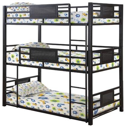 Coaster Rogen Collection 460394 Triple Bunk Bed with Built-In Ladder, Slat Sides and Steel Construction in Dark Bronze Finish