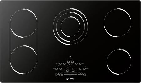 """Verona VECTXM365 36"""" Electric X 5 Element Cooktop With Slide Touch Controls, Peacock Tail Bar, Low Power Scale, Hot Surface Indicator, Residual Heat Indicator and Acoustic Buzzer, in Black"""