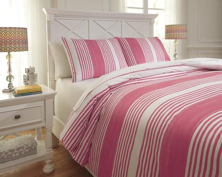 Signature Design by Ashley Taries Q7290 2 PC Twin Size Duvet Cover Set includes 1 Duvet Cover and 1 Standard Sham with Striped Design, 200 Thread Count and Cotton Material in Color