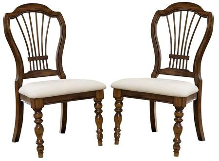 "Hillsdale Furniture 4852801 Set of 2 Pine Island 40.25"" Wheat Back Side Chairs with Oversized Harp Back, Ivory Fabric Upholstery, Pine Solids and Lumber Sides Construction in"