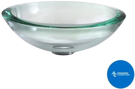 "Kraus GV15019MMX Singletone Series 17"" Round Vessel Sink with 19-mm Tempered Clear Glass Construction, Easy-to-Clean Polished Surface, and Included Pop-Up Drain with Mounting Ring"