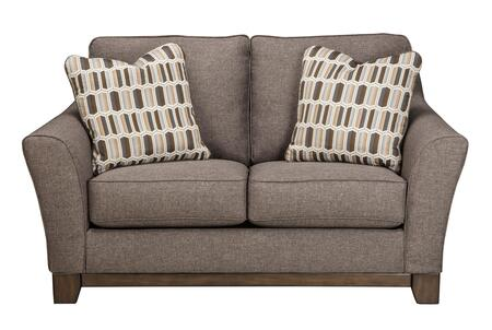 "Benchcraft Janley 4380X35 64"" Fabric Loveseat with 2 Toss Pillows with Patterned Cover, Boxed Seat and Back Cushions and Exposed Front Rail in"